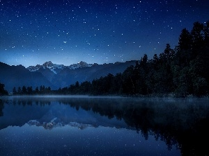 Fog, forest, Mountains, Night, lake