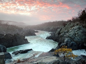 Fog, clouds, River, rocks
