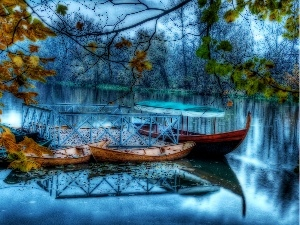 lake, forest, boats