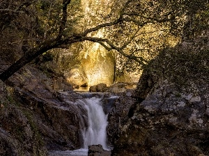 Przebijaj?ce, ligh, sun, luminosity, flash, waterfall, rocks, autumn, forest