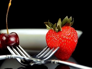 Strawberry, Forks, cherry