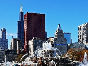 fountain, clouds, Chicago, skyscrapers