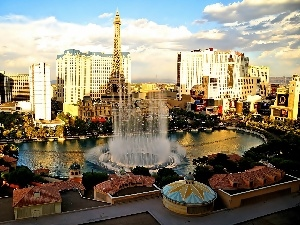 fountain, town, Las Vegas, panorama
