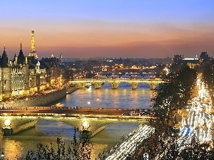 France, panorama, Paris by Night