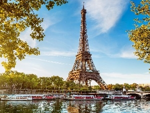 France, Paris, River, Eiffla Tower