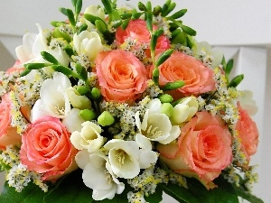Freesias, flowers, bouquet, roses, Arts