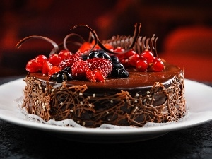 Fruits, decoration, chocolate, Cake