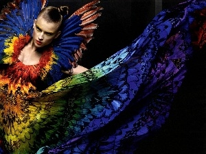gamut, butterfly, Women, colors, dress