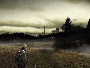 gas, Mask, Storm, forest, soldier