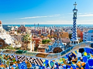 Gaudi, buildings, panorama, Barcelona