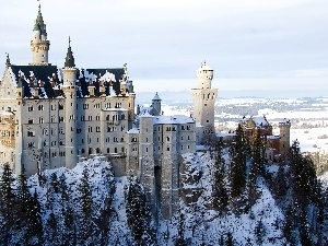 Germany, winter, Castle, Neuschwanstein