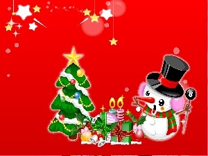 gifts, Snowman, christmas, christmas tree