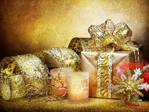 gifts, Candles, decoration, Christmas