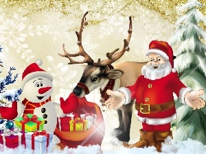 birth, gifts, christmas tree, Santa, God, Snowman, reindeer