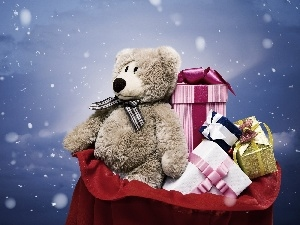 gifts, Christmas, teddy bear