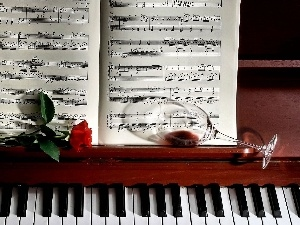 glass, Piano, rose, Tunes