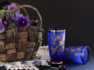 glasses, pansies, basket, purple
