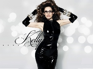 Glasses, dress, Kelly Brook, black