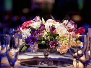 flowers, glasses, bouquet