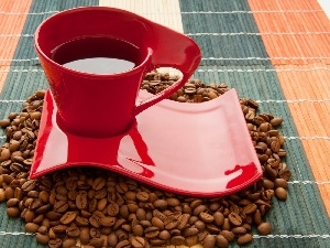 grains, saucer, red hot, coffee, cup