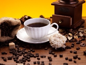 grains, coffee, mill, cup