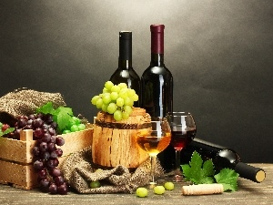 Grapes, Wine, barrel, Bottles