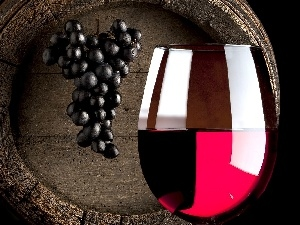 Grapes, Wine, barrel, glass