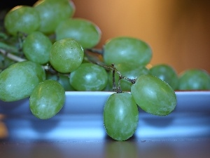 Grapes, plate, green ones