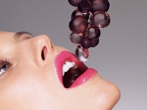 grapes, glass, Women, make-up