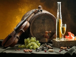 Wine, Grapes, barrel