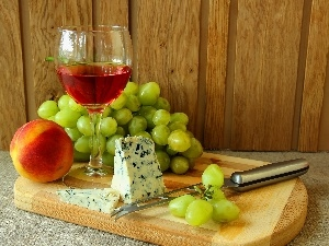Grapes, peach, Wine, cheese