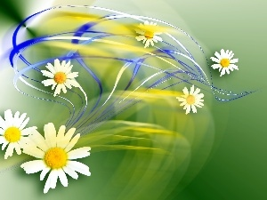 graphics, streaks, daisy, color