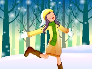 graphics, winter, girl, joy