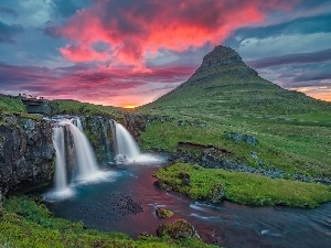 bridges, Mountains, Great Sunsets, waterfall, iceland, River