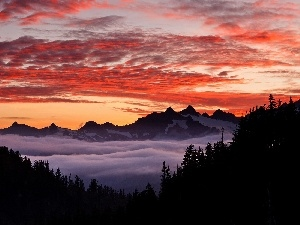 Great Sunsets, Fog, Mountains, clouds