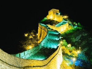 Great Chinese Wall, Night, lanterns