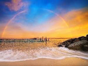 Pale, Great Rainbows, sea, west, Stones, sun