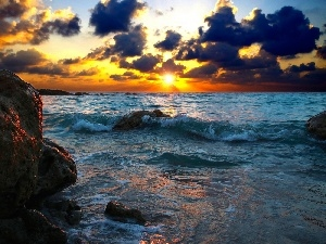 Great Sunsets, clouds, sea, Waves