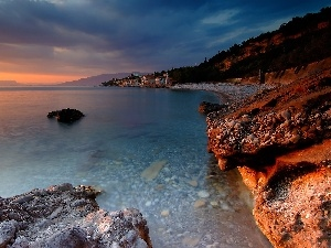 Great Sunsets, Coast, sea, rocks