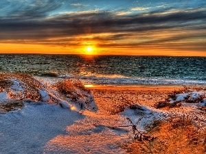Great Sunsets, snow, Beaches, sea, Dunes