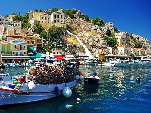 Greece, Hill, Boat, Houses