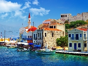 Greece, coast, Town, boats, an