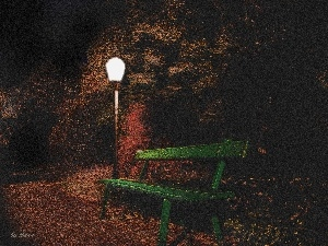 Green, Lighthouse, Park, Bench, night