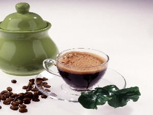 Green, grains, cup, sugar bowl, coffee