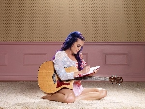 Guitar, note-book, Katy Perry