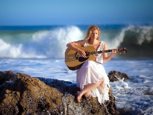 Guitar, girl, sea, rocks