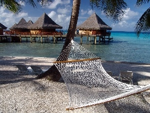 Hammock, Sand, Houses, trees, water