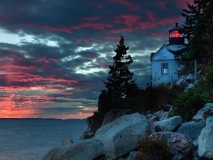 bass harbor, sea, Great Sunsets, Lighthouse, Maine, maritime