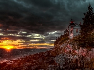bass harbor, clouds, Great Sunsets, Lighthouses, Maine, sea
