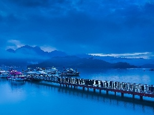 Harbour, Platform, Mountains, Boats, Fog